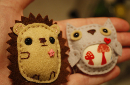 Hedgehog & Owl brooches