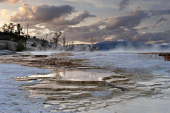 Canary Springs at Sunset (Andrew Kandel) Tags: sunset usa landscape volcano yellowstonenationalpark wyoming geology mammothhotsprings thermalfeature canarysprings