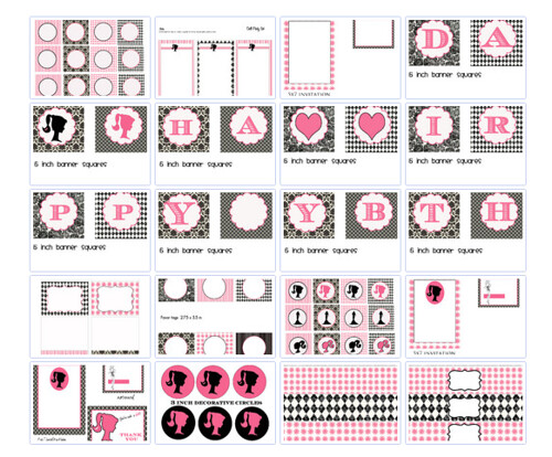 Pink Black Modern Doll  Printable Party Set    Print Cut Party Printables
