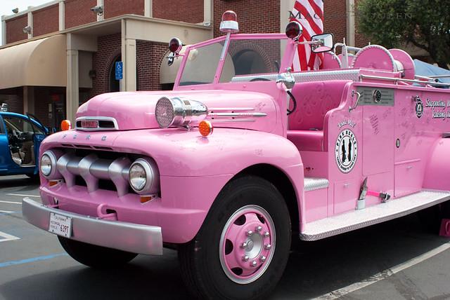 a pink fire truck