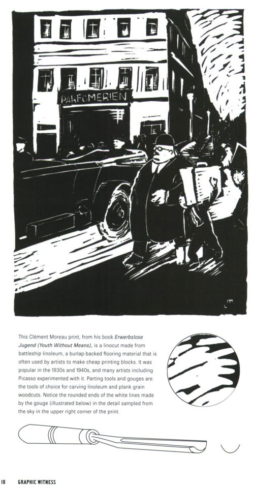 Clement Moreau linocut from the book GRAPHIC WITNESS