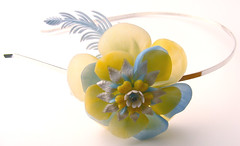 Blue, Yellow and White Vintage Flowers Headband