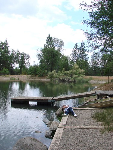 pond, dock and photographer
