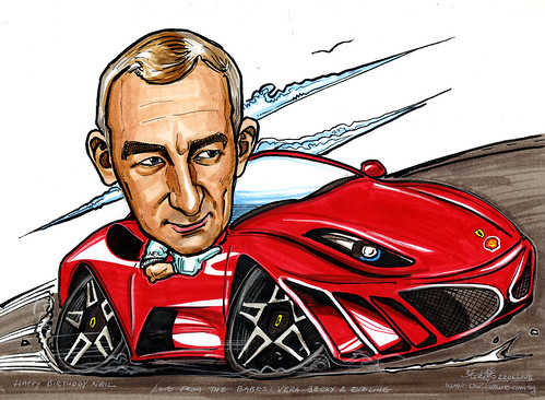 Caricature  on Ferrari for Shell