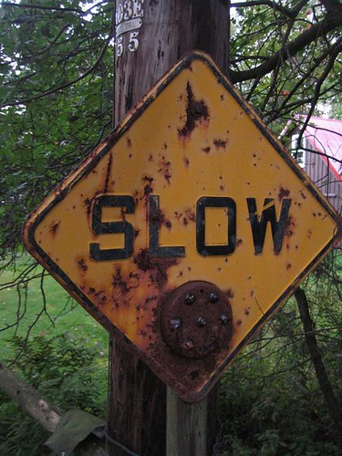 Slow sign on Dyken Pond Road