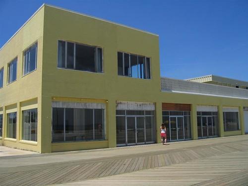 Empty boardwalk store fronts