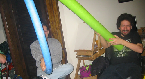 20080112 - Greg & Nicole's party - 149-4955 - Laszlo & Clint - Noodle Fight!