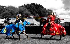 Jousting at Warwick Castle (Theresa Elvin) Tags: england castle cutout battle medieval knights jousting warwickcastle colourpopping