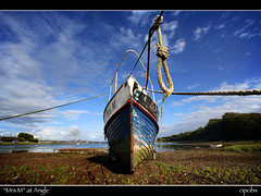 """""""Mrs M"""" at Angle (opobs) Tags: sky beach water southwales wales clouds reflections bay boat seaside westwales angle mud pembrokeshire wfc wetknees welshflickrcymru canonef14mmf28l michaelstokes opobs anglebay"""