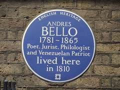 Photo of Andrés Bello blue plaque