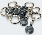 Handmade Stitch Markers - Snowflake Obsidian
