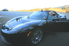 My Tesla Arrived! (jurvetson) Tags: green home car electric motors ev win arrival tesla roadster solarpowered manufacturing zeroemissions teslamotors fdweareinvestors ev20 foundersseries thankszakteam photobyzakfromtesla