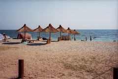 Beach Head (zedworks) Tags: blue sea sky holiday film beach analog geotagged iso100 seaside sand mare kodak roadtrip romania 2008 blacksea yashica vamaveche vama veche profoto mg1 mareaneagra geo:lat=43752063 geo:lon=28576319