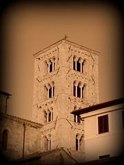 Campanile Duomo di Anagni (Alessandro Mari) Tags: church cathedral antica chiesa campanile duomo antico medievale anagni cattedrale seppia bifora ciociaria ritocco bifore trifora trifore olympussp570 rocchecastelli rocchefariecastellicastleslighthosesbelltowers
