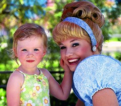 princess and cinderella (Seattle rainscreen) Tags: california blue portrait cute green film beautiful nikon princess daughter adorable precious cinderella n60 anahiem disnyeyland