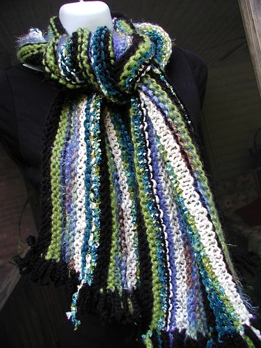 Blue On Black Knit Wrap/Scarf