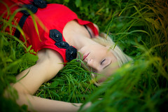 So unlikely (Geshpanets) Tags: autumn red summer portrait green love girl beauty grass outside 50mm girlfriend dress outdoor sleep 5d reddress lightroom blondy 5014 canonef50mmf14usm russiangirl