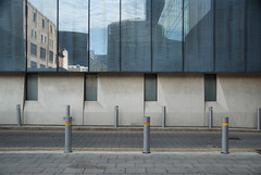 (Janet Leadbeater) Tags: city urban abstract reflection window glass wall buildings reflections minimal adelaide engaged bollard