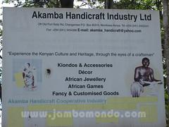 Cartel a la entrada del mercado de la cooperativa de Akamba