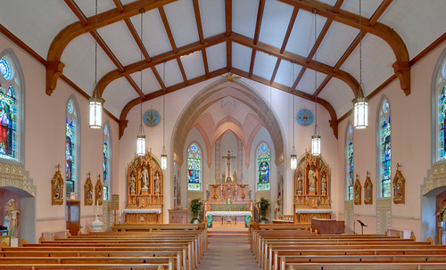 Saint Francis of Assisi Roman Catholic Church, in Portage des Sioux, Missouri, USA - nave