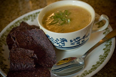 Potato Soup and Blue Corn Chips