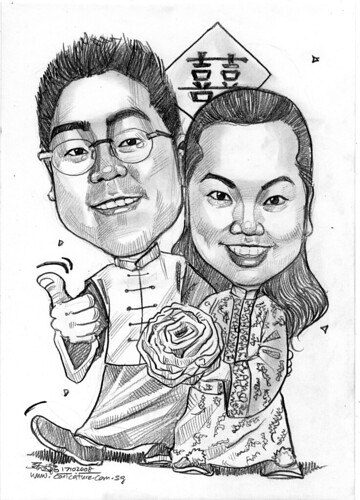 Couple traditonal Chinese wedding caricatures 171008