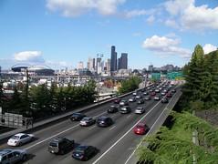 Seattle from the Beacon Avenue overpass (rutlo) Tags: seattle washington traffic stadium rush hour freeway cbd avenue beacon beaconhill interstate5