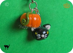 Phonestrap con zucca e gatto nero - Pumpkin and Black Cat mobile phone charm, fimo polymer clay (*Merylu*  PetiteFraise) Tags: orange black halloween mobile cat pumpkin handicraft phone handmade magic cell jewelry charm bijoux jewellery spooky fimo clay etsy picnik phonestrap polymer petitefraise merylu