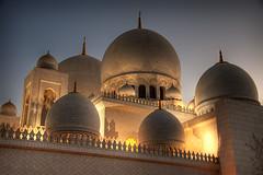 Sheikh Zayed Mosque (momentaryawe.com) Tags: sunset muslim islam religion uae mosque abudhabi domes hdr islamic sheikhzayedmosque