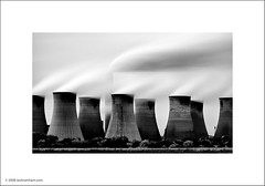 Cottam Power Station, Nottinghamshire (Ian Bramham) Tags: longexposure england bw industry station photography photo nikon energy power smoke fineart towers steam explore coal northern nottinghamshire cooling fired eastmidlands cottam d40 nikond40 ianbramham michaelkennainfluenced