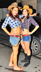 Shanghaiist Halloween Party 2008: Cowgirls. (@yakobusan Jakob Montrasio ) Tags: china costumes party urban halloween bar club night fun costume scary funny asia shanghai chinese makeup horror annual  friday expats 2008 shanghaiist foreigners 3rd bombshelter  puxi huaihaizhonglu