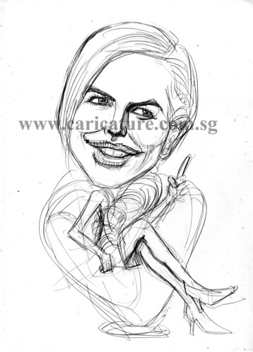 Celebrity caricatures - Nicole Kidman pencil sketch watermark
