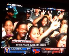 Obama wins! (birdfarm) Tags: students television tv election president africanamerican cheer celebrate obama electoral barackobama spelman spelmancollege obamawins