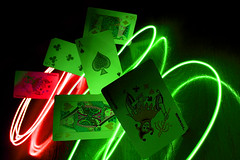 Cards-with-light-2 (sdm28h) Tags: red green paintingwithlight joker greenlight redlight playingcards queenofhearts deckofcards fiveofclubs kingofdiamonds canon400d digitalymanipulated