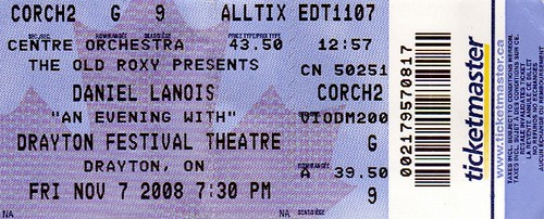 Daniel Lanois Concert Ticket
