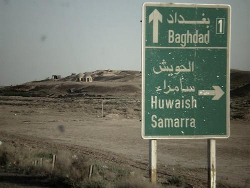 Cartel de carretera en Irak