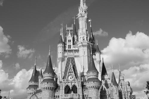Cinderella Castle-black and whiteDisney Castle Black And White