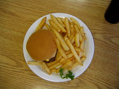 cheeseburger_and_fries (mariecarnes) Tags: food lunch frenchfries cheeseburger fries parsley springfieldillinois sunrisecafe
