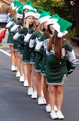 Union Middle School Cheerleaders Line Up (Tex Texin) Tags: california christmas xmas school girls white holiday green children los high education san uniform outdoor union jose gatos jr skirt parade skool marching junior childrens practice cheer cheerleader middle gym middleschool physical tweens