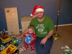 DAD AND LITTLE NUT BALL (chaz71) Tags: christmas xmas baby mike joe presents chuck