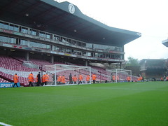 Highbury Clock End (double goals one for prematch practice) (old man chillum....) Tags: clock stand goals pitch practice highbury arsenal afc gunners stewards prematch clockend