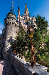 The magic begins! (Matt Romack Photography) Tags: trees castle lamp photoshop fun orlando nikon florida magic kingdom disney hdr themepark lightroom cinderellascastle d300 photomatix disneysmagickingdom stoichiometry 9exp