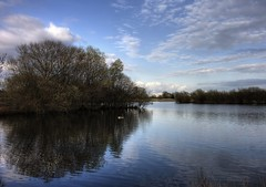 Wetlands: Island Reflection (Tim Blessed) Tags: uk trees sky nature clouds landscapes countryside scenery lakes wetlands ponds singlerawtonemapped
