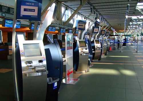 United Airlines self-help check-in terminals at the YVR Vancouver International Airport
