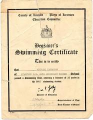 Mike Laughton's Swimming Certificate 1955