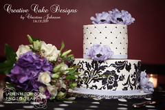Professional shot of the Wedding Vow Renewal Cake (Christina's Dessertery) Tags: wedding black floral cake purple diamond anemone quilting renewal stenciling lilas damask buttercream vow floweer christinajohnson dragees creativecakedesigns