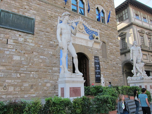 "The ""fake"" David stands where the original did at the front door of Palazzo Vecchio (town hall) since late 1800's."