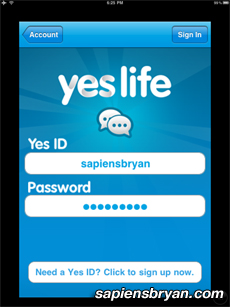 The Login Page Of Yes Life iOS App