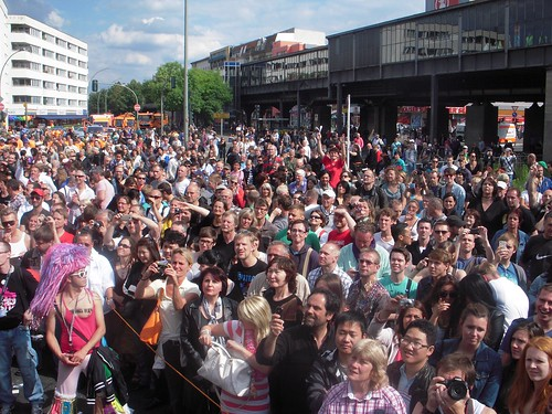 ... what an enormous crowd -- the heart of one of Berlin's gay districts.