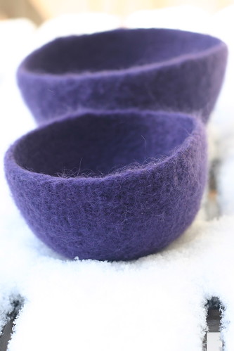 Felted bowls in the snow